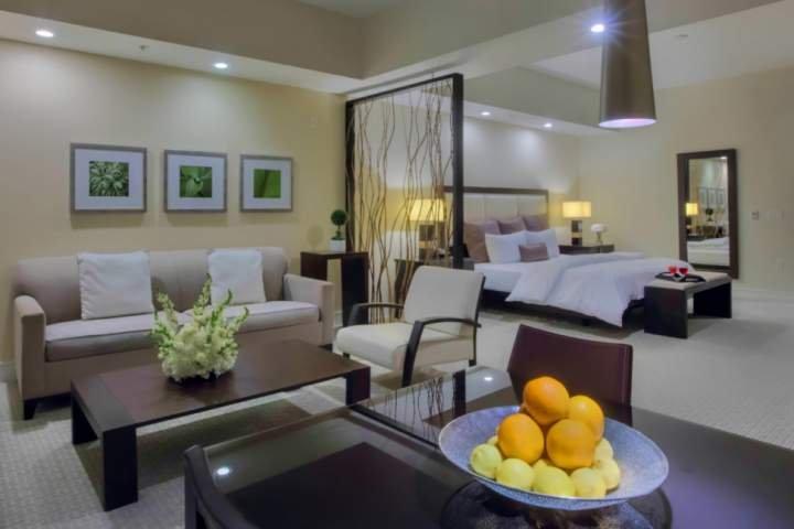 Spazioso e lussuoso monolocale con 1 letto king-size o 2 letti matrimoniali (a scelta, senza costi aggiuntivi).