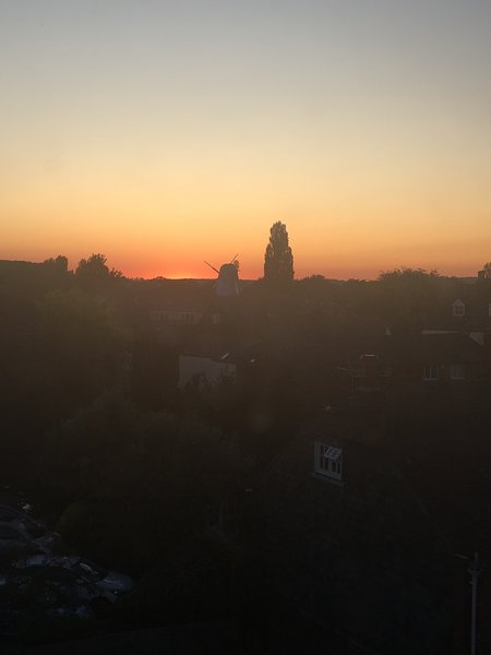 Sunset view from bathroom
