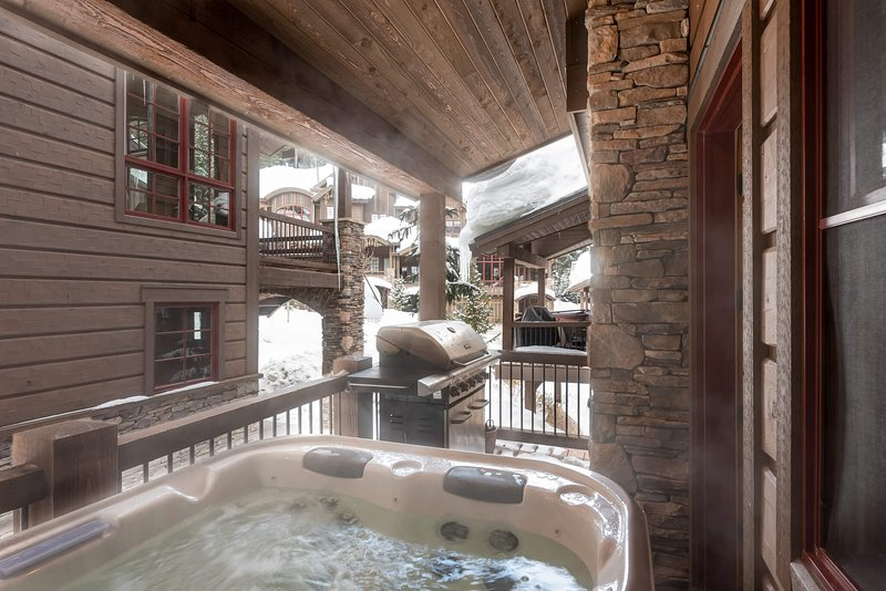Warm up in the private hot tub