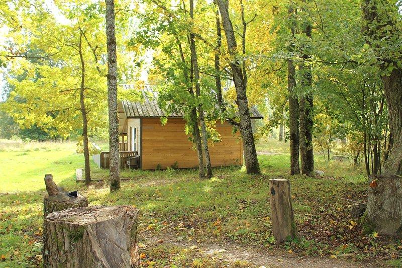 Una cabina per quattro nel bosco.