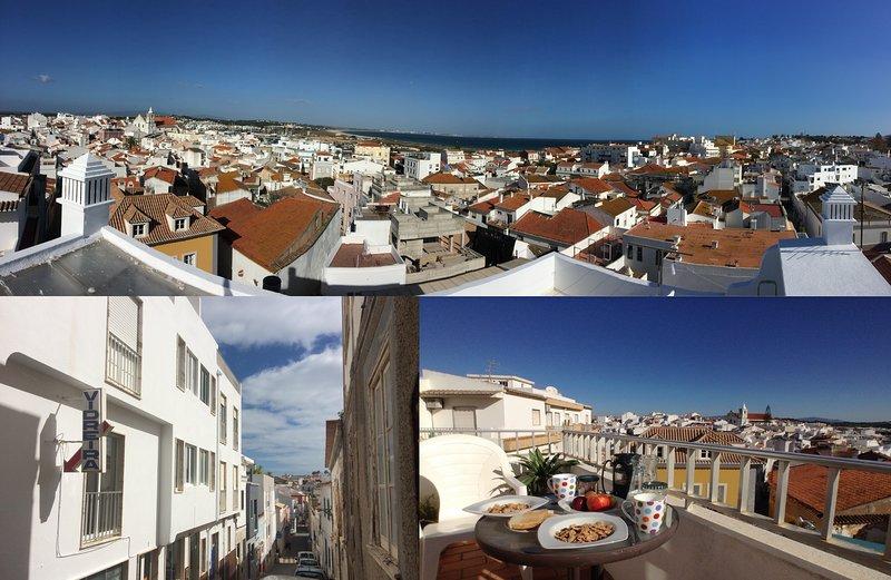 Vista dalla terrazza sul tetto, vista sulla strada e vista dal balcone della colazione
