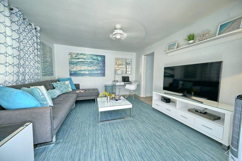 Sleek, modern beach decor throughout and located walking distance to Hamilton.