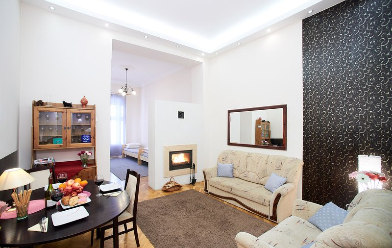 City center Budapest, private, elegant, WiFi, fireplace: Fireplace Holidays home, vacation rental in Budapest