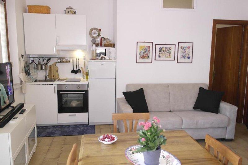 Cucina / soggiorno con divano letto matrimoniale