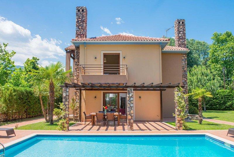 Modern 2 Bed Villa w/Pool - nearest beach 300m, holiday rental in Olympiada