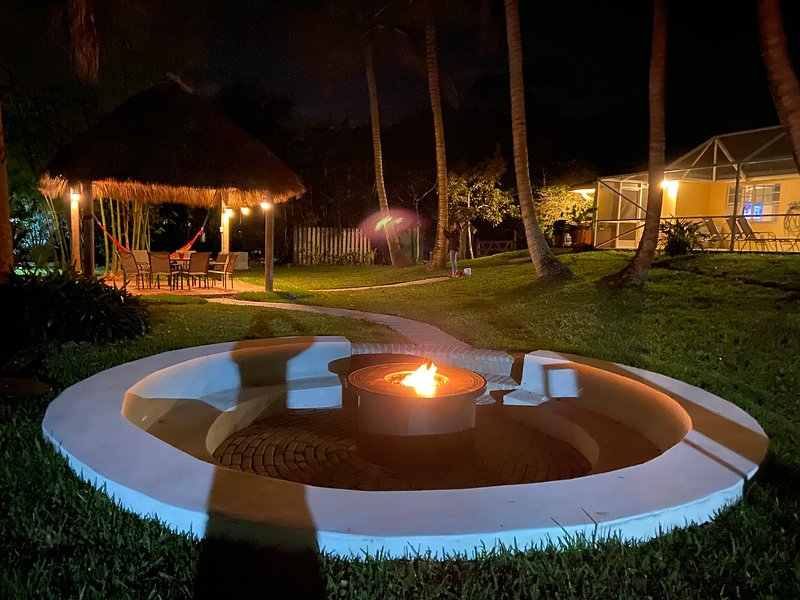 Our beautiful backyard with our new fire pit. Just another way to relax and enjoy the night.