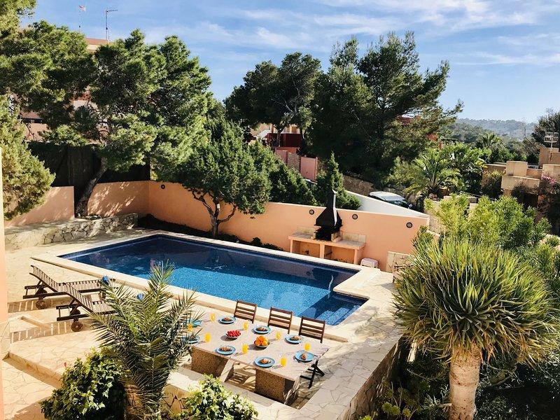 ⭐⭐⭐⭐⭐SANITIZED Villa 5 mins to Cala Vadella beach, pool, panoramic views, holiday rental in Ibiza
