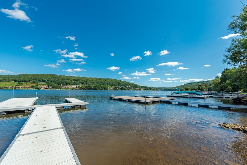 Shared lakefront, private dock