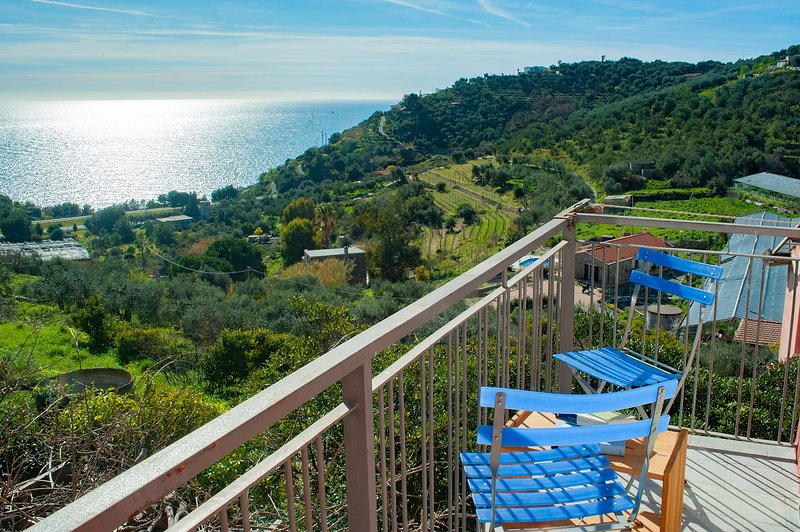 Casale degli Ulivi house with big garden and wit panoramic view of the sea, vacation rental in Poggi