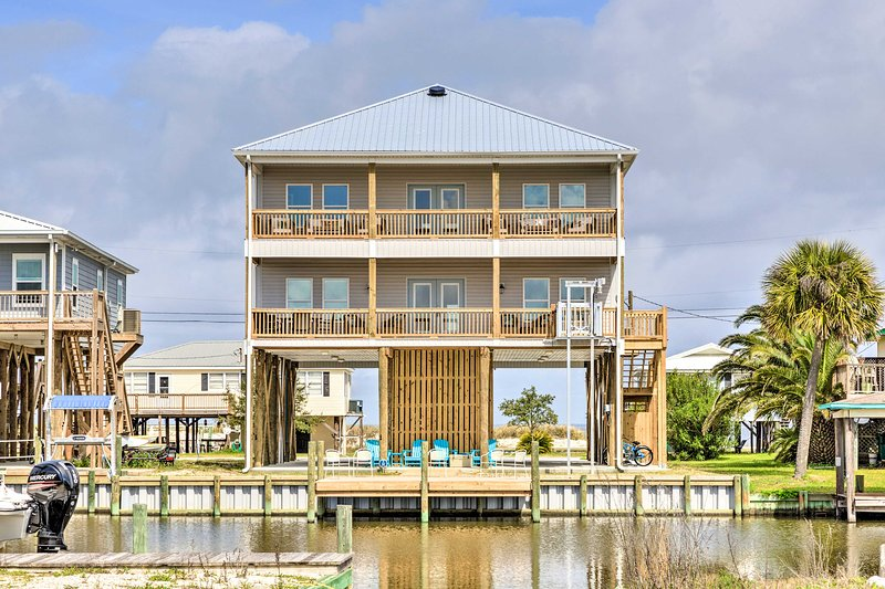 This stilted home offers a unique getaway on Dauphin Island!
