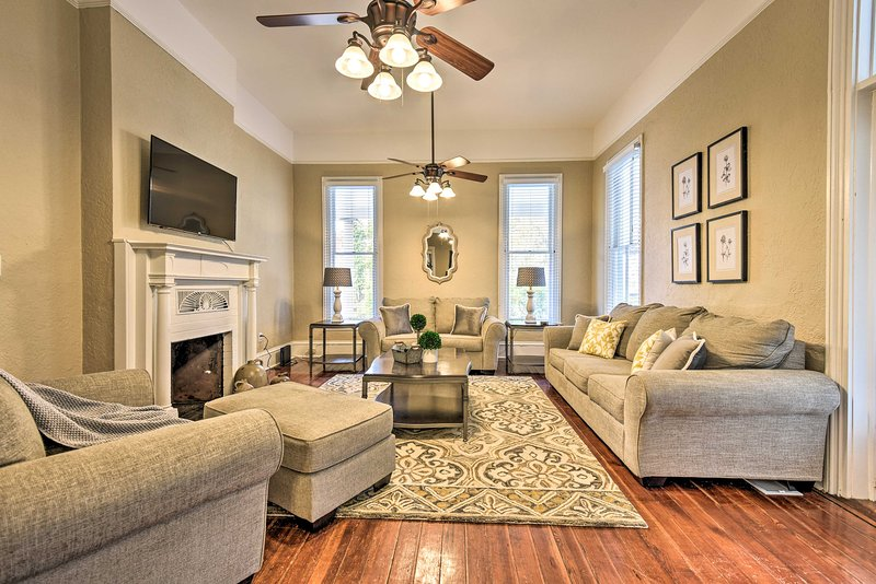 A charming living room invites you to feel at home.