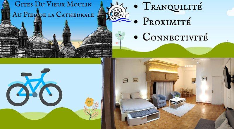 Gites du Vieux Moulin-Appartement OCRE- au Pied de la Cathédrale de Périgueux, aluguéis de temporada em Atur