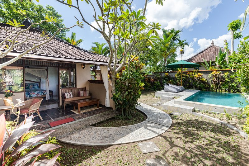 Devi's Place Ubud- secluded Villa Jacaranda with pool and rice field views, vacation rental in Ubud