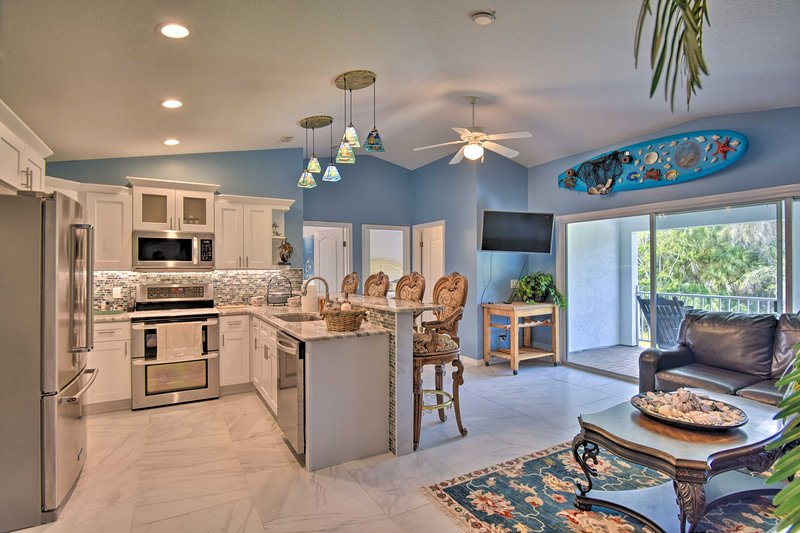 This vacation rental boasts an open layout and modern amenities.