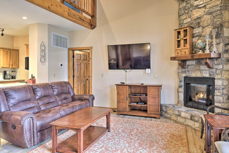 After a day at Silver Dollar City, unwind in front of the 60-inch LED Smart TV.
