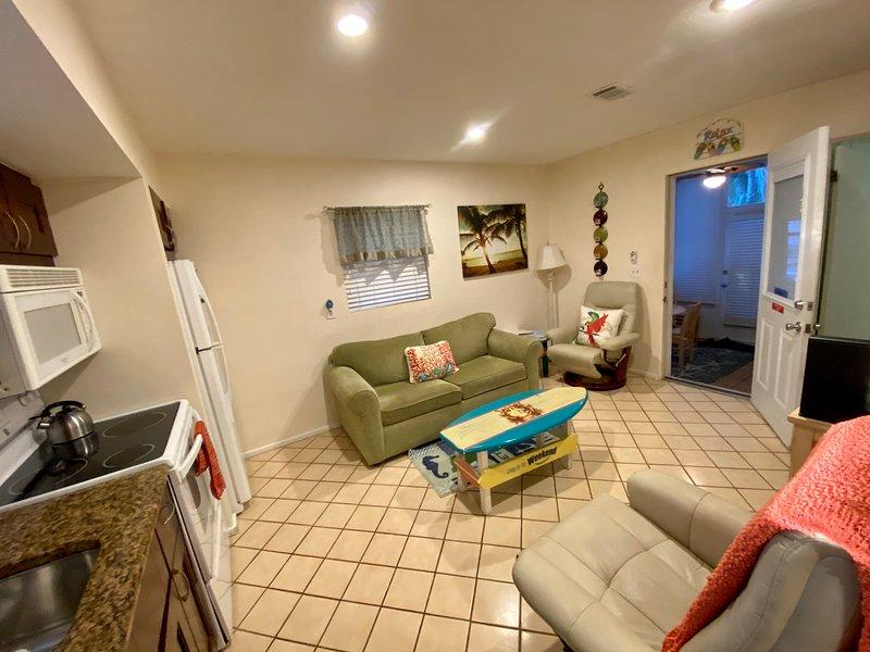 2 deluxe recliners and queen sleep sofa in freshly renovated living area