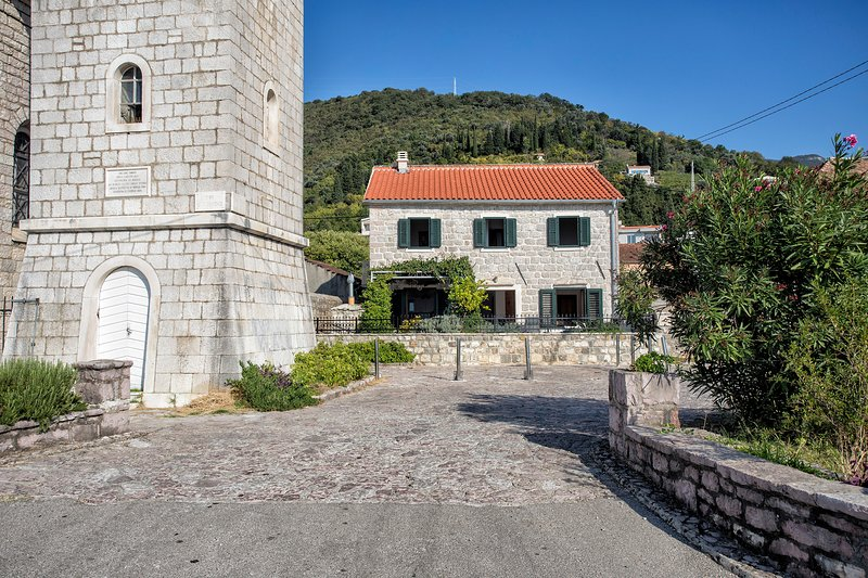 Villa Ruza and the church of St Roko