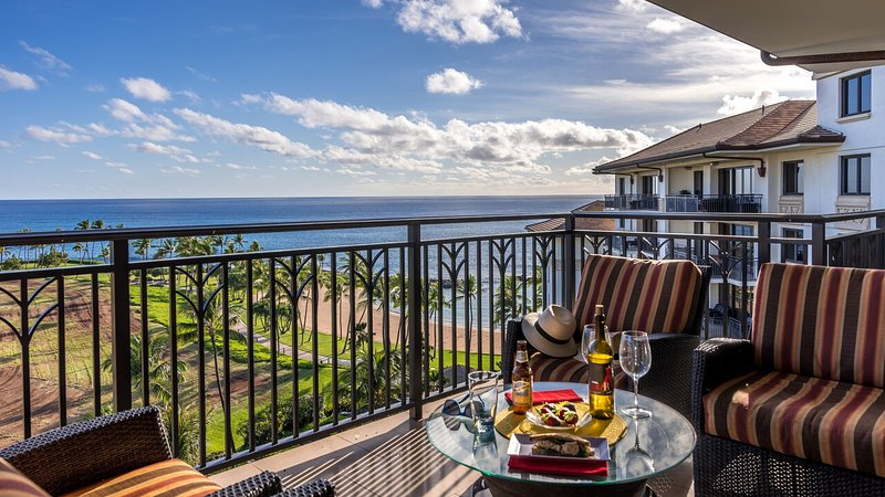 Bird's eye view of the pool, swooping to the ocean from your lanai outside your Ko Olina Beach Rental