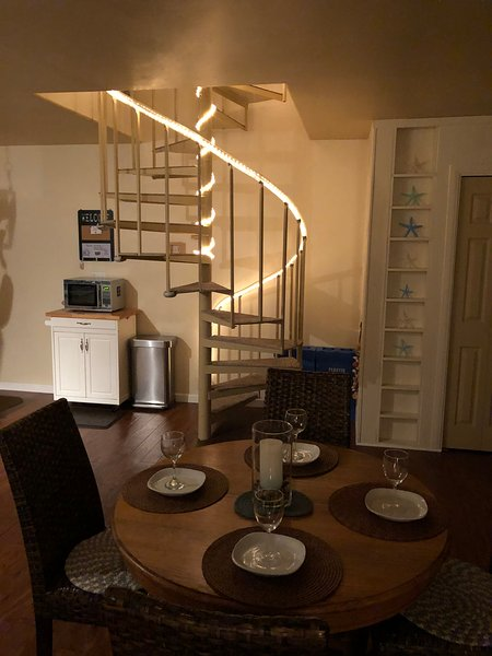 Lighted spiral staircase