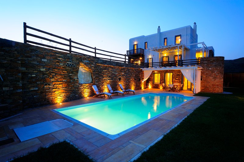 Romantic lights in our 5-bedroom villa with pool in Andros