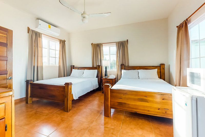 Cozy studio near town with an ocean view, free WiFi, partial AC & shared deck!, vacation rental in Tobacco Caye