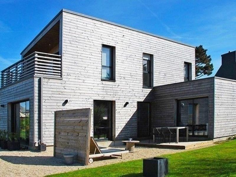 Villa en bois VUE MER avec jardin clos, WIFI, à 500m plage à l'Ile Grande en, vacation rental in Pleumeur Bodou