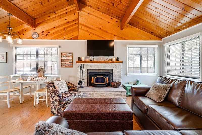 Cozy living room with beautiful vaulted pine ceilings and plenty of lighting and views of pine trees