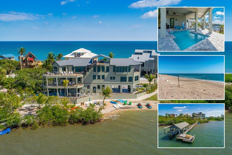 Nirvana Shores: 8BR/6BA Ocean-2-River FL Beach House w/heated pool,dock,elevator, alquiler vacacional en Hobe Sound