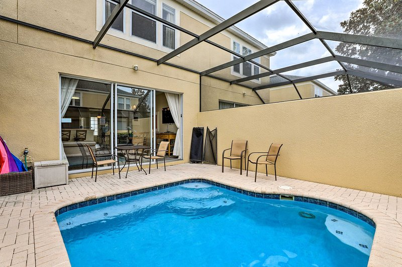 After a day at Disney, cool off in the pool under the Lanai!