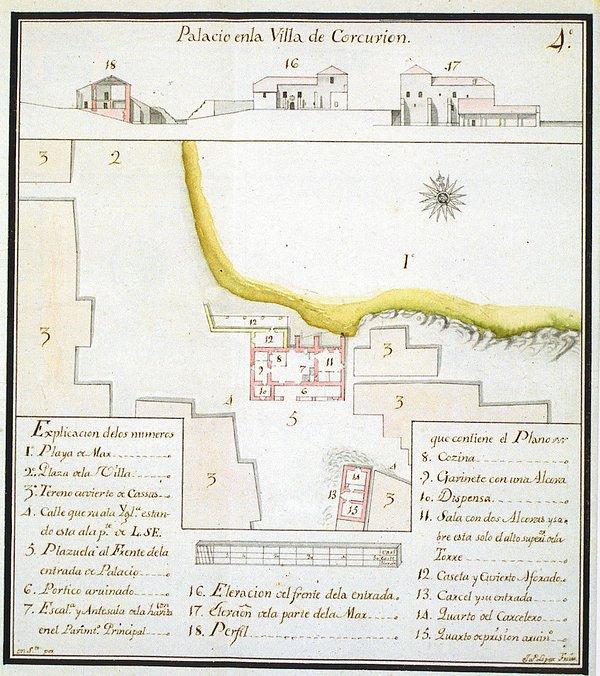 Mapa de 1776 donde nuestra casa con el número 14 formaba parte de la cárcel de los condes de Altamir