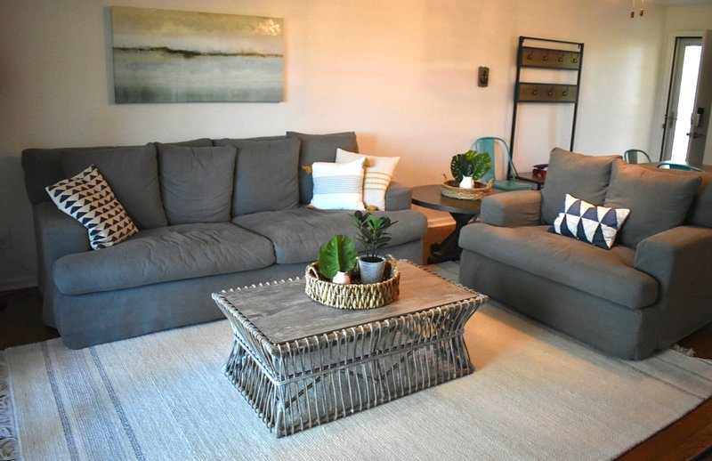 Newly decorated family room is cozy and inviting