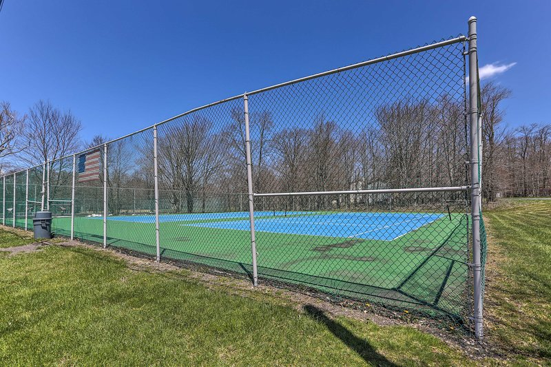 Take your rackets and challenge someone to a tennis match!