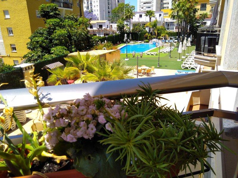 Vista desde el balcón con la piscina al fondo