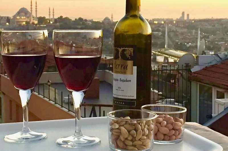 Style, character, frescoes, terrace views, Galata!, vacation rental in Istanbul