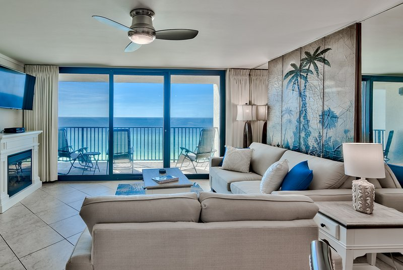 Living room with gulf view. Sleeper sofa with queen size Cozy mattress.
