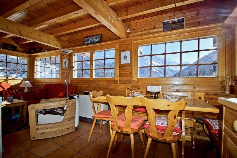 Chalet Abraxas avec vue imprenable sur les montagnes - Grimentz, aluguéis de temporada em Evolene