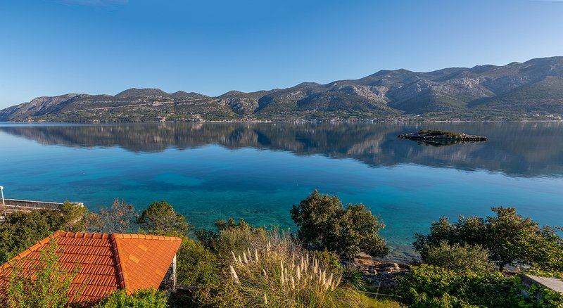 AdriaticHome's view of the sea, gardens and Peljesac beyond