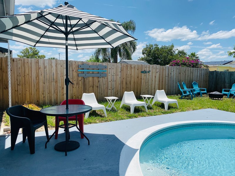 Our backyard with pool, Grill and seating area!