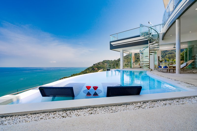 infinity pool in the middle area with amazing seaview