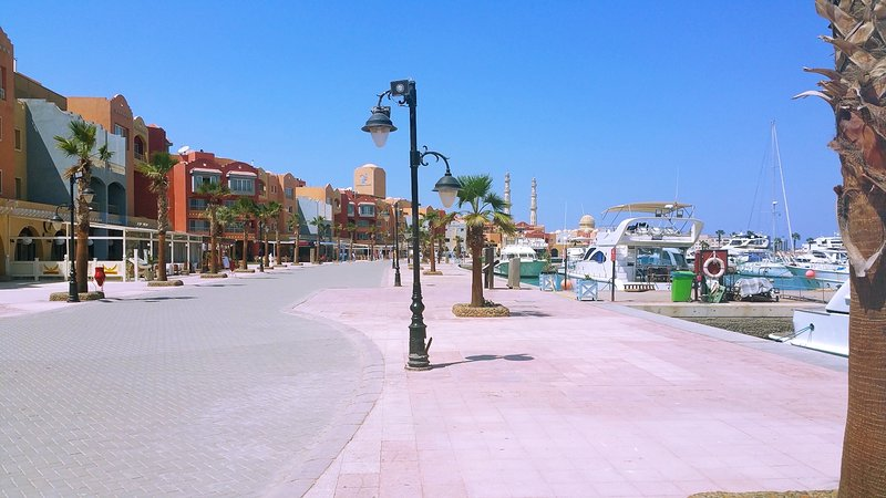 The New Marina is open during daytime but mostly filled with people during the evening hours.