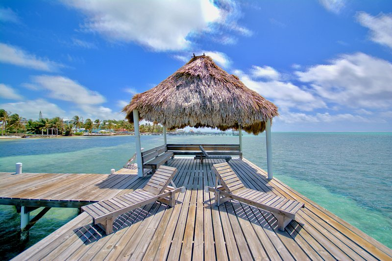 Pier with palapa & lounging; tour operators will pick you up/drop you off here