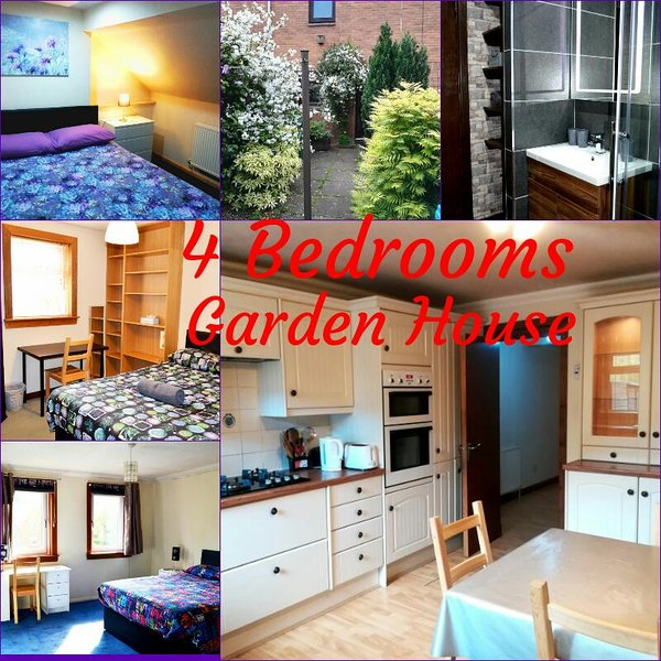 4 DOUBLE BEDROOM GARDEN HOUSE - Free optic fiber WI-FI, vacation rental in Glasgow