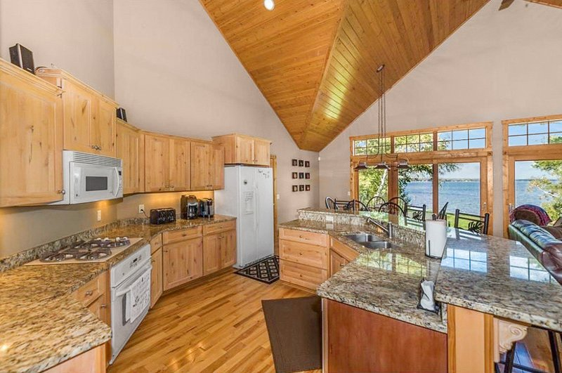 The rustic kitchen is big enough for all of your cooking needs!