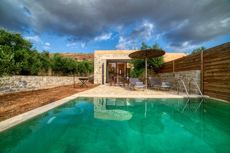 Olive luxury suites with private swimming pool, indoor jacuzzi and kitchen, holiday rental in Kamilari