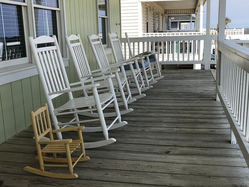 Watch the fun on the beach or in the water from the front deck. Great for an elderly parent.