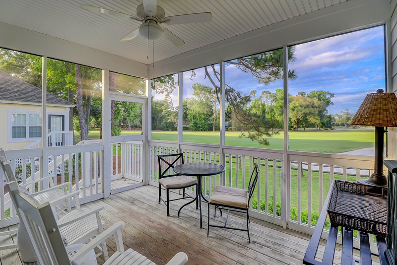 Screened porch with gorgeous golf and landscape views