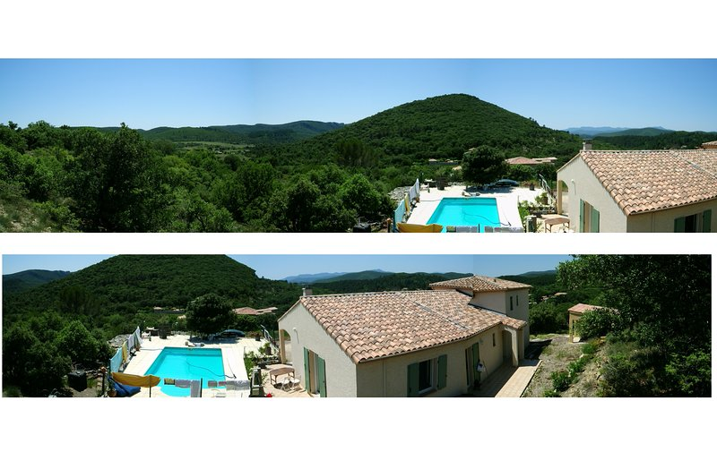 VILLA FAMILIALE avec PISCINE, VUE IMPRENABLE, 200m² + STUDIO en sus, holiday rental in Corbes