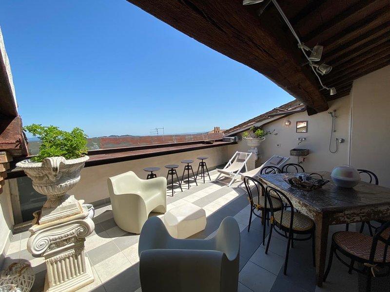 Doppio appartamento con terrazza con vista sulle colline toscane, alquiler vacacional en Radicondoli