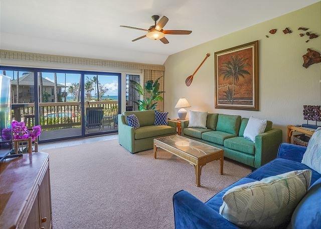 Spacious Ocean View Living Room with Sofa Sleeper