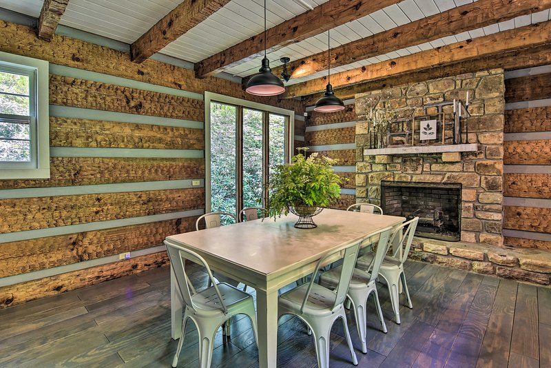 A remodeled interior features rustic-yet-elegant finishes.